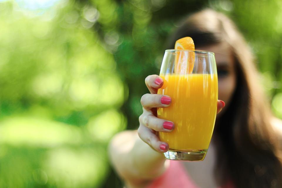 Glass with orange huice