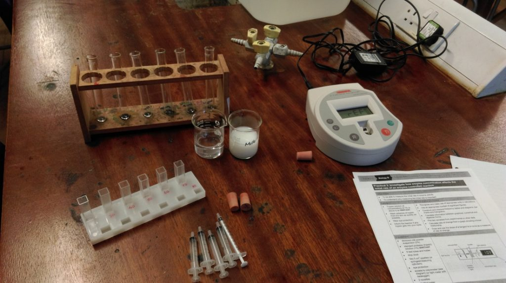 experiment equipment on table